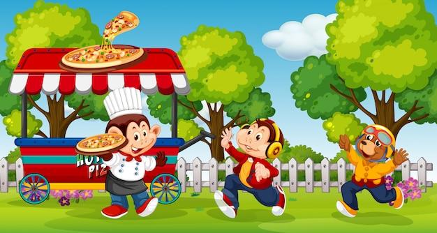 Animali che servono pizza nel parco Vettore gratuito