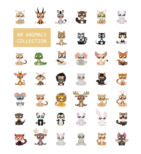 Animali collezione colorata Vettore gratuito