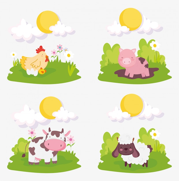 Animali da allevamento del sole delle nuvole dei pulcini del pollo della mucca del maiale delle pecore Vettore Premium