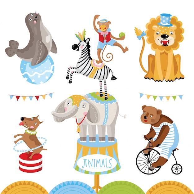 Animali da circo che eseguono raccolta di trucchi Vettore Premium