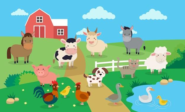 Animali da fattoria con paesaggio Vettore Premium