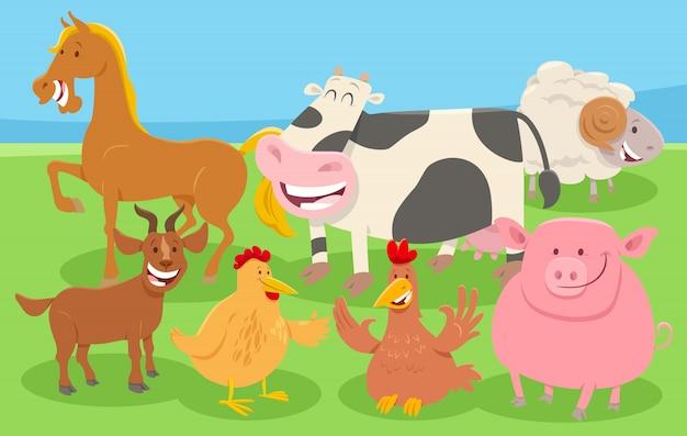 Animali da fattoria dei cartoni animati in campagna Vettore Premium