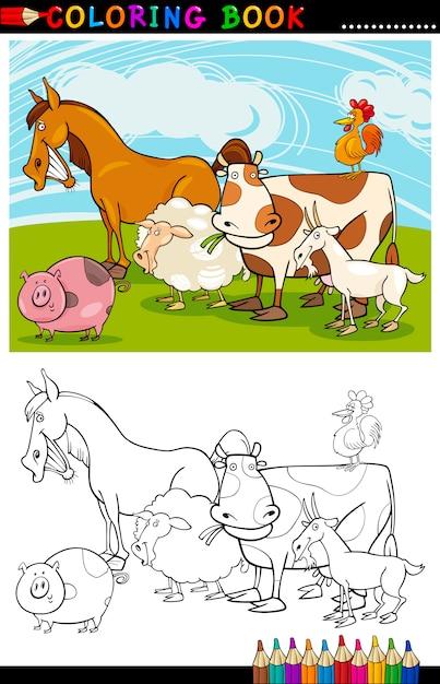 Animali da fattoria e da allevamento per la colorazione Vettore Premium
