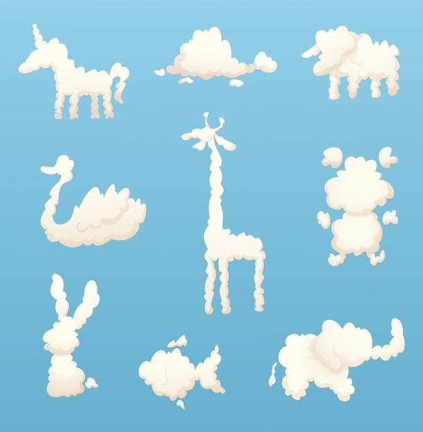 Animali dalle nuvole. varie forme di nuvole di cartone animato Vettore Premium
