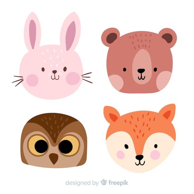 Animali della foresta di autunno disegnati a mano Vettore gratuito