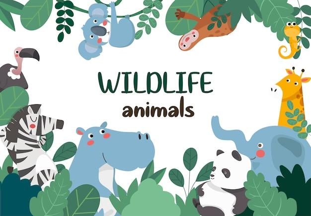 Animali della giungla, cornice. Vettore Premium