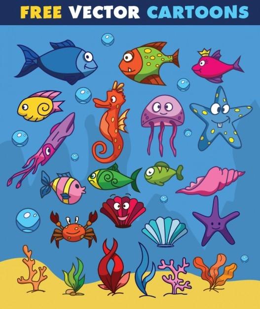 Animali di acqua a disegno del fumetto Vettore gratuito