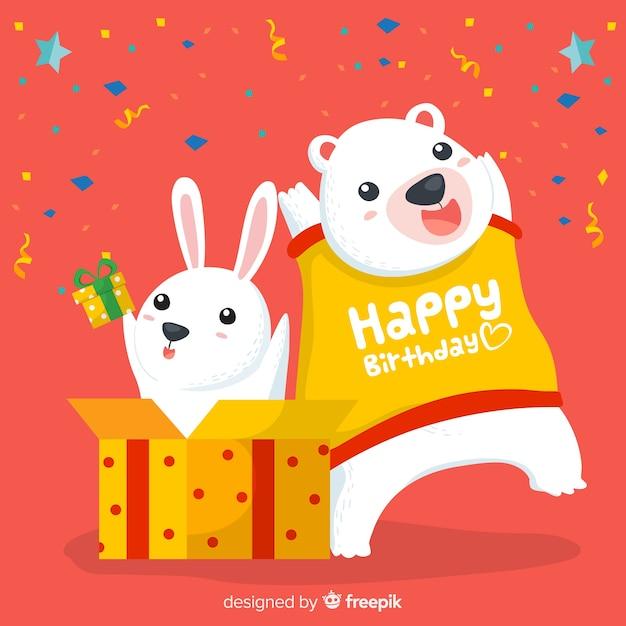 Animali di compleanno Vettore gratuito