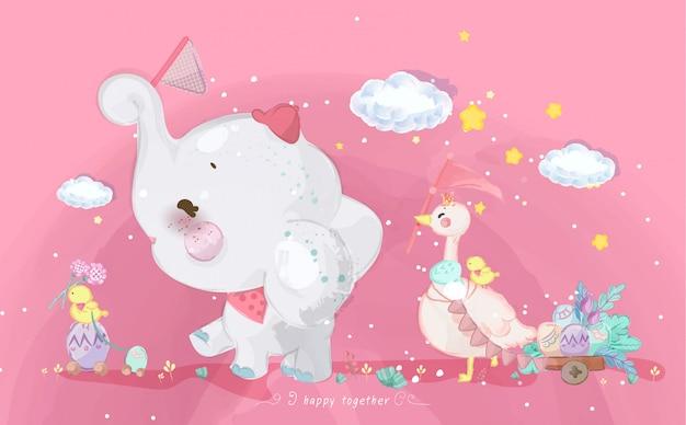 Animali di doodle di parata disegnati a mano. Vettore Premium