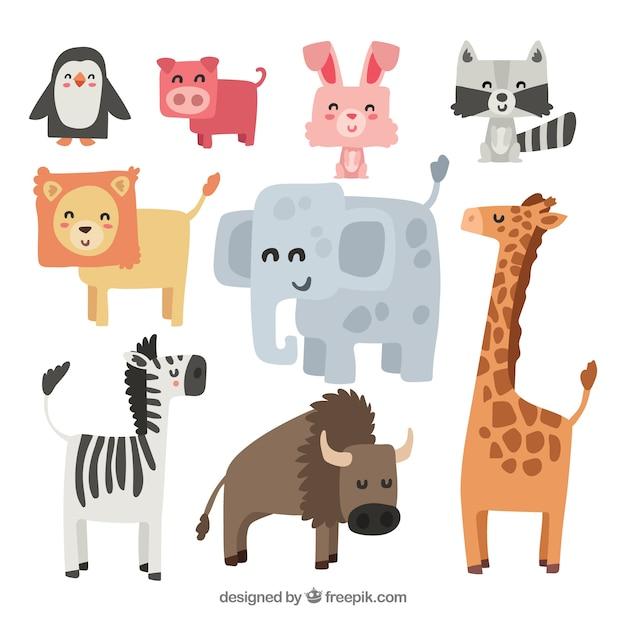 Animali di smiley con disegno piatto Vettore gratuito