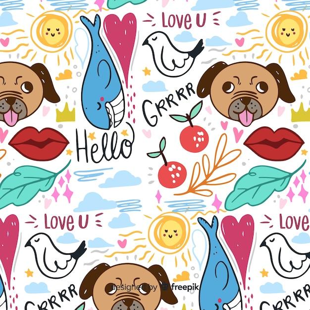Animali disegnati a mano e pattern di parole Vettore gratuito
