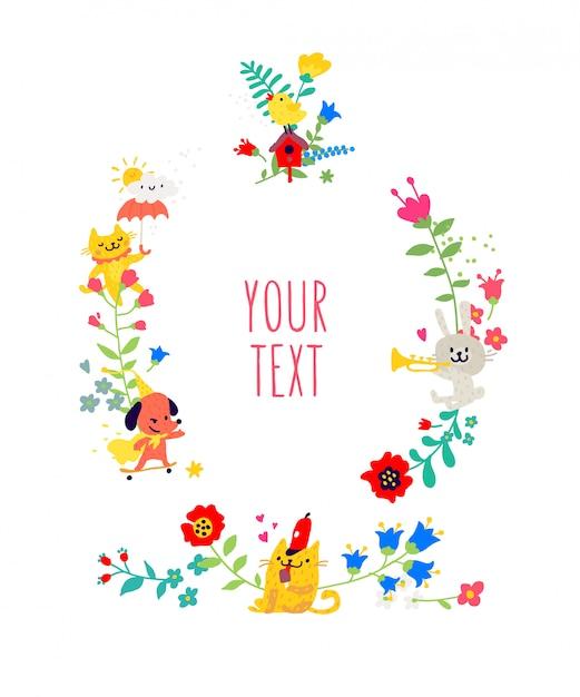 Animali disegnati ed elementi floreali. Vettore Premium