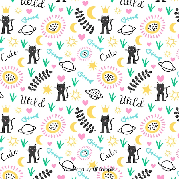 Animali divertenti doodle e pattern di parole Vettore gratuito