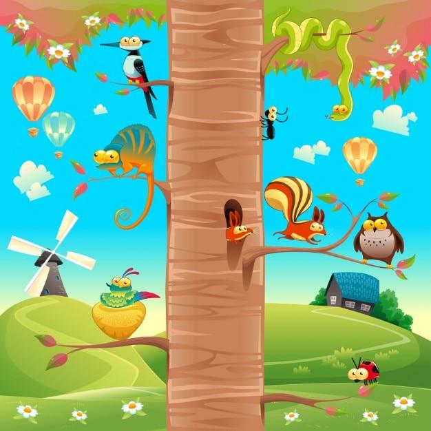 Animali divertenti sui rami cartone animato e la scena gli