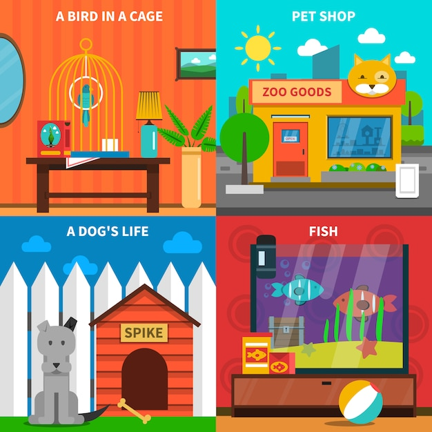 Animali domestici concept set Vettore gratuito