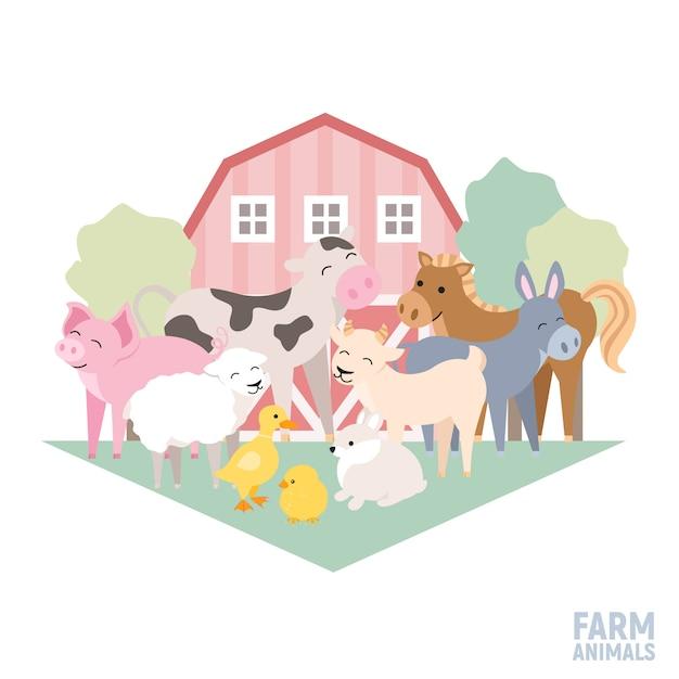 Animali domestici su un asino dell'agnello del maiale della mucca dell'azienda agricola Vettore Premium