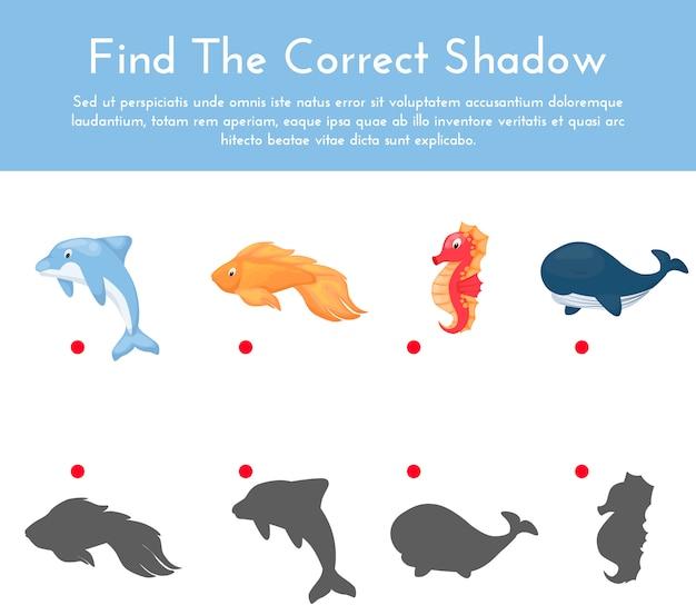 Animali e le loro forme gioco di abbinamento ombra Vettore Premium
