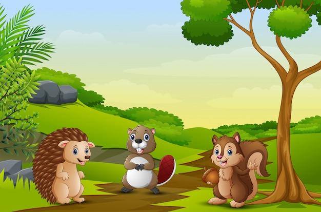 Animali felici che godono sul campo Vettore Premium