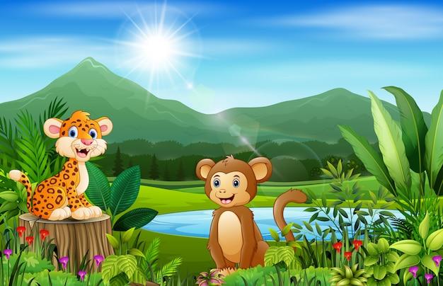 Animali felici e splendidi paesaggi naturali con montagne Vettore Premium