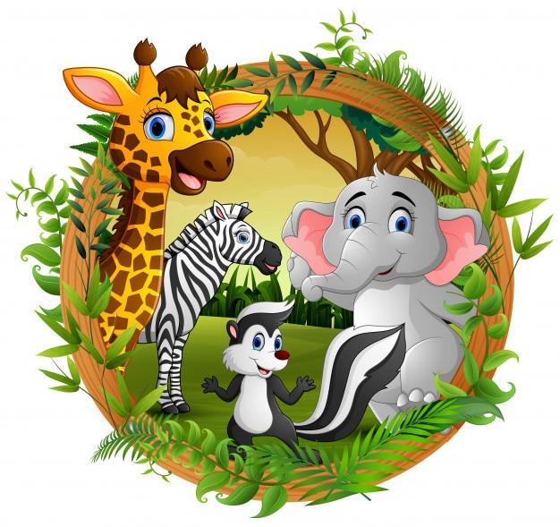 Animali felici nella foresta cornice Vettore Premium