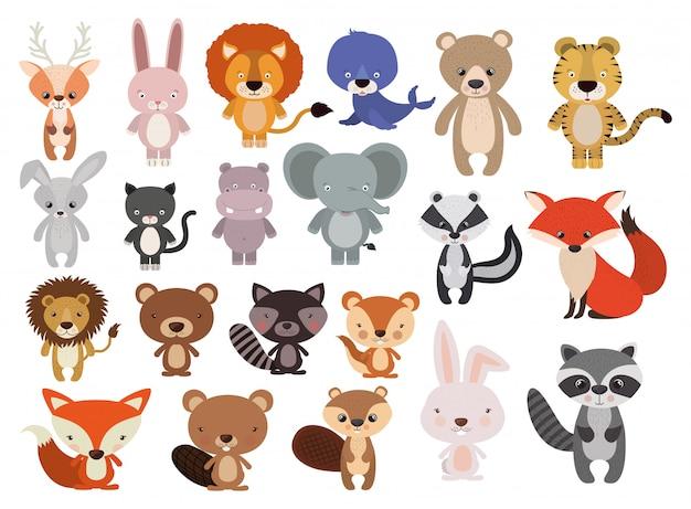 Animali impostati in stile piano Vettore gratuito