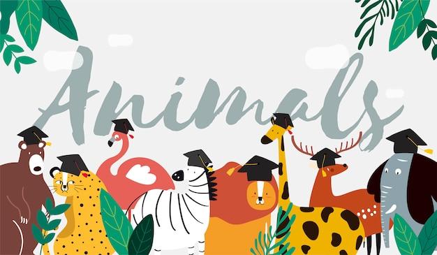 Animali in un vettore di stile cartone animato Vettore gratuito