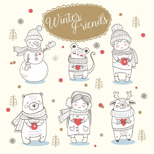 Animali invernali, ragazzo e ragazza disegnati a mano. Vettore Premium