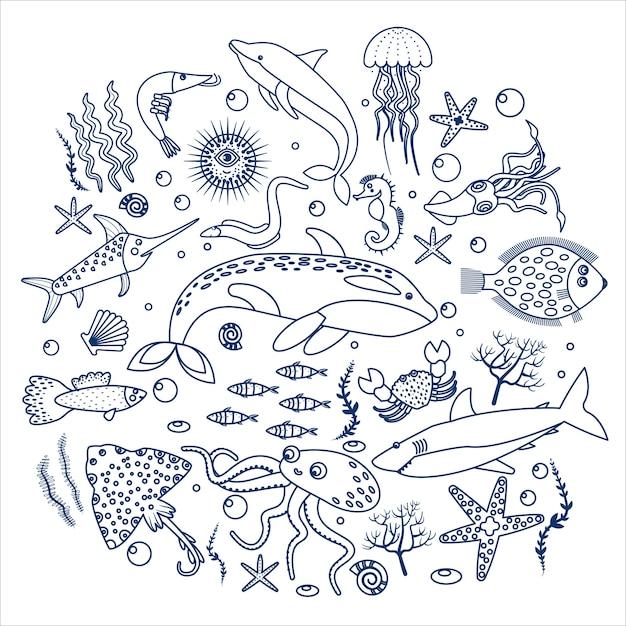 Animali marini e etichetta di pesce Vettore Premium