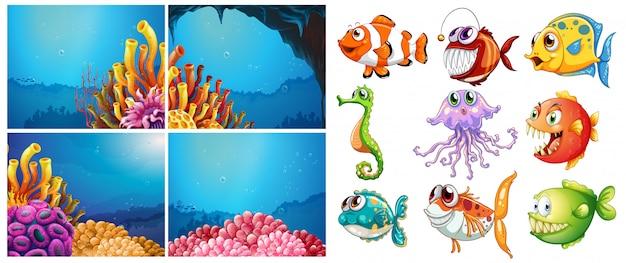 Animali marini e quattro scene sott'acqua Vettore Premium