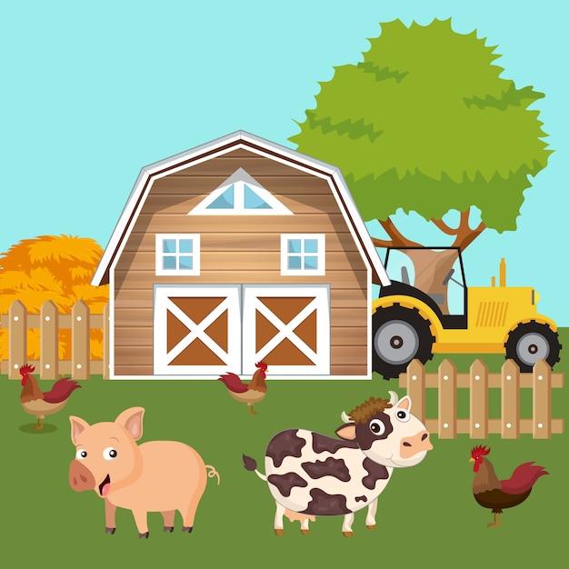 Animali nell'aia Vettore Premium