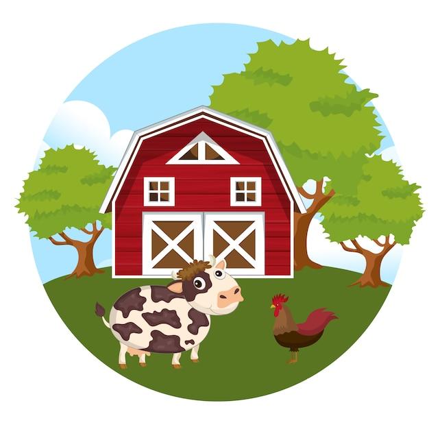 Animali nella scena della fattoria Vettore Premium