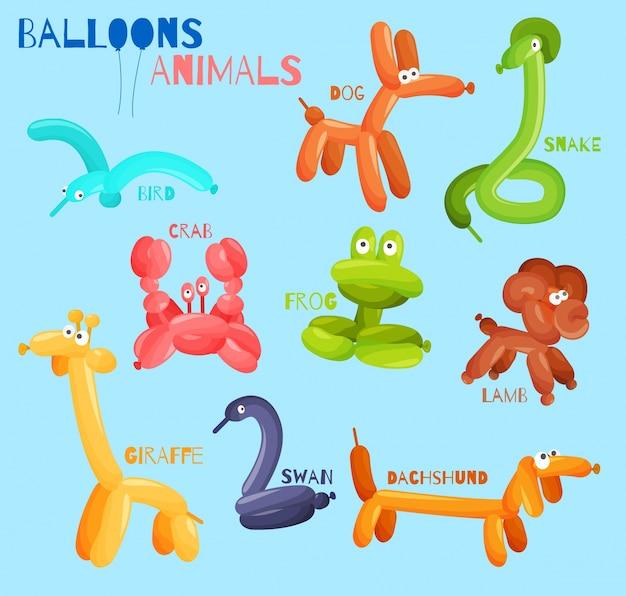 Animali palloncino isolati Vettore gratuito