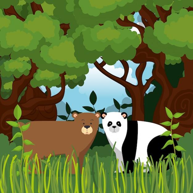 Animali selvaggi nella scena della giungla Vettore gratuito