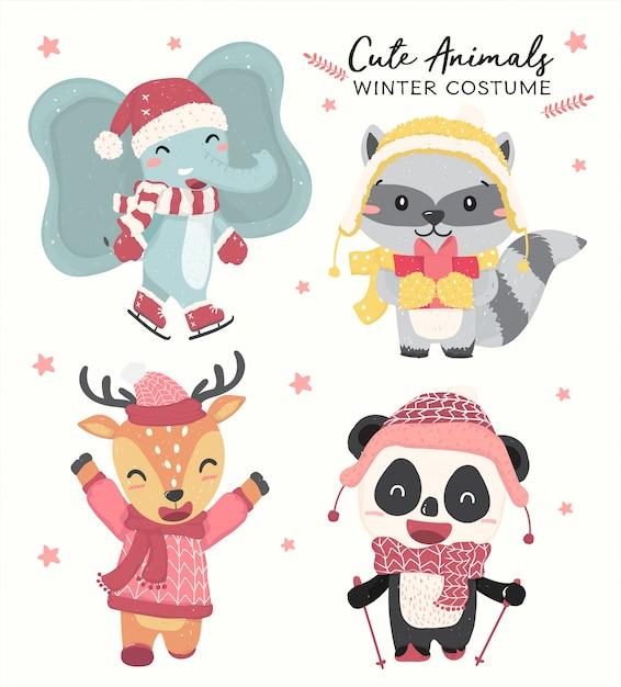 Animali selvaggi pastelli felici svegli nel vettore piano della raccolta di tema del costume di inverno Vettore Premium