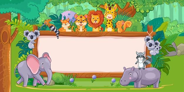 Animali selvatici con un segno di legno bianco nella giungla Vettore Premium