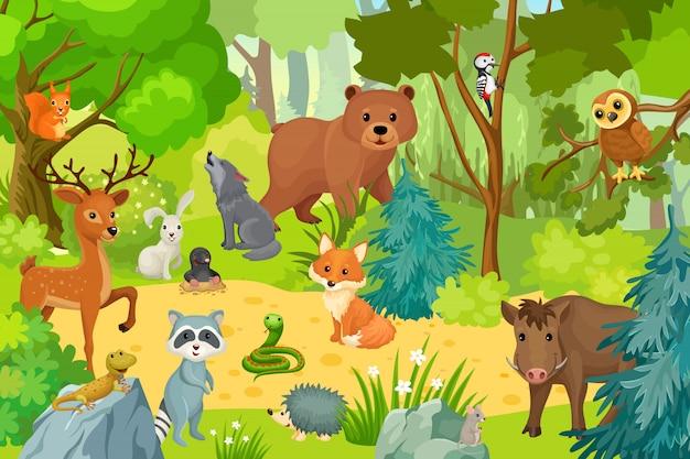 Animali selvatici sulla foresta. Vettore Premium