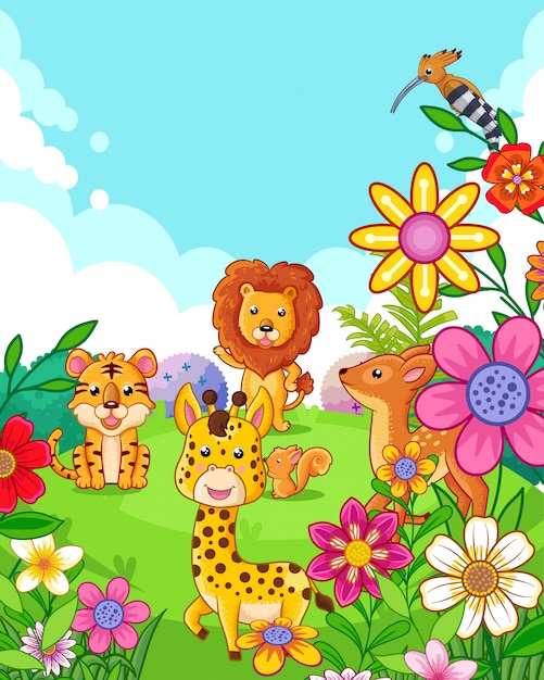 Animali svegli felici con i fiori che giocano nel giardino Vettore Premium