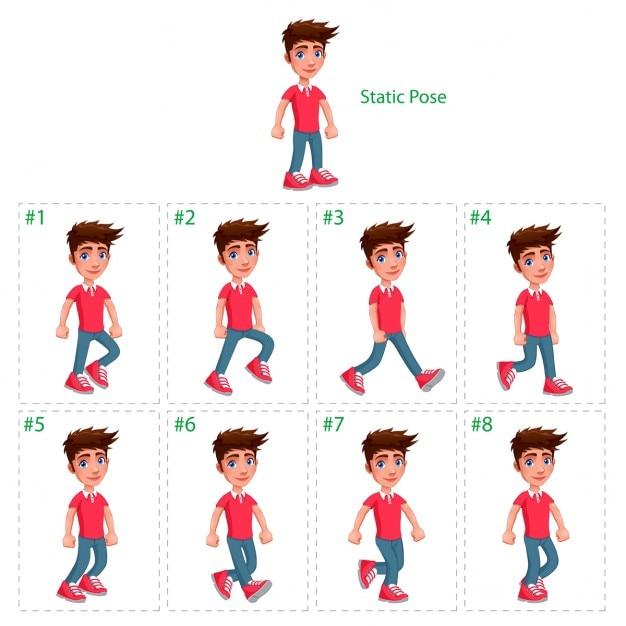 Animazione di ragazzo che cammina otto deambulatori 1 pongono vector cartoon isolato characterframes statici Vettore gratuito