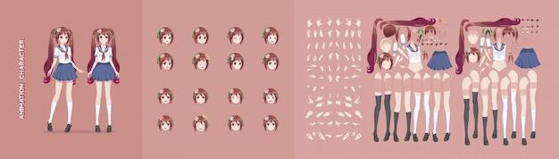 Animazione manga anime personaggio animazione motion design Vettore Premium