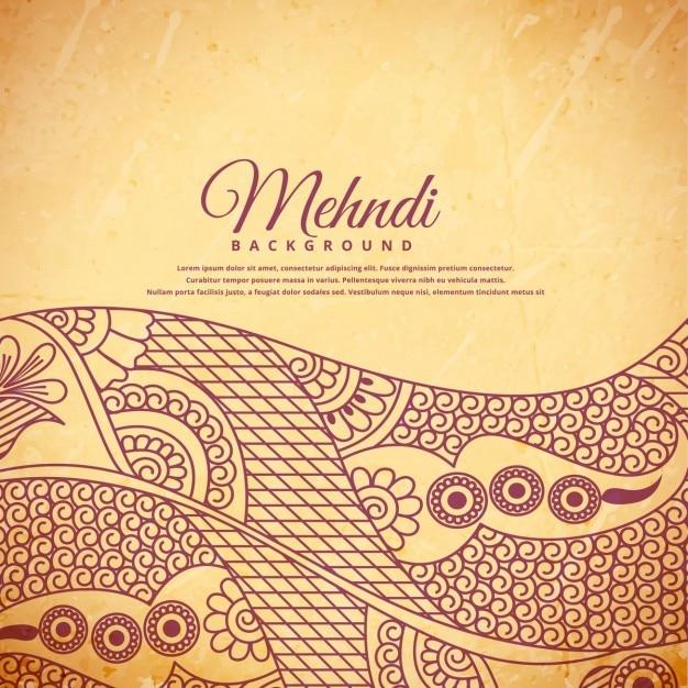 Annata henné mehndi sfondo Vettore gratuito