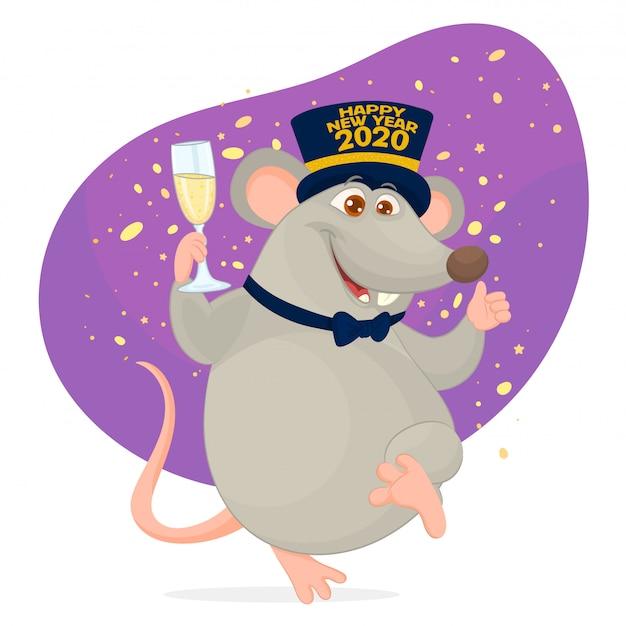 Anno del ratto. capodanno cinese Vettore Premium