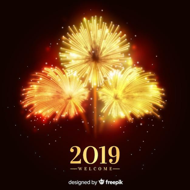 Anno nuovo banner 2019 con fuochi d'artificio Vettore gratuito