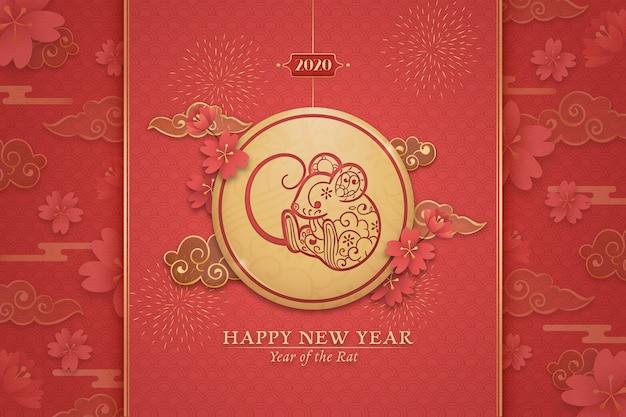 Anno nuovo cinese disegnato a mano Vettore gratuito