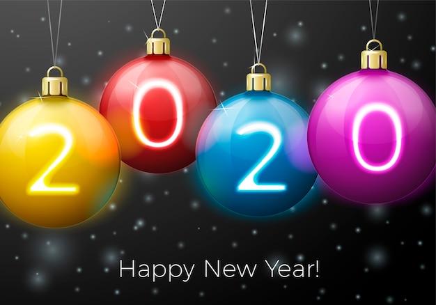 Anno nuovo con palline luminose e numeri 2020 su sfondo di notte invernale Vettore Premium
