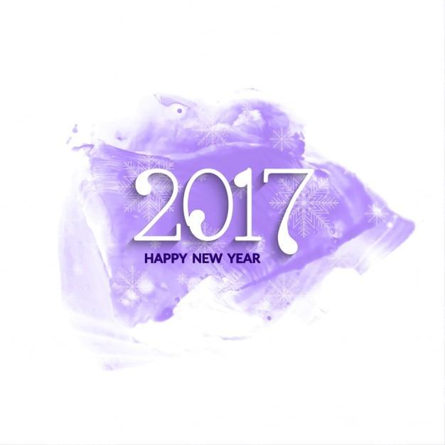 Anno nuovo sfondo 2017 acquerello Vettore gratuito