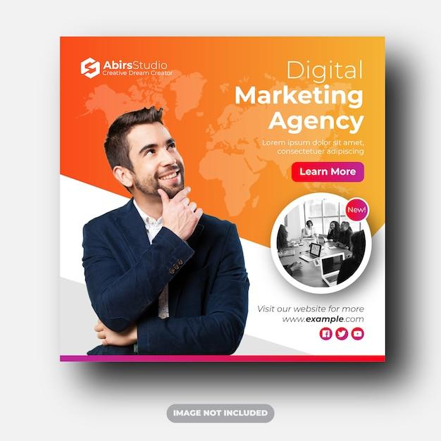 Annunci di banner pubblicitari per social media dell'agenzia di marketing digitale Vettore Premium