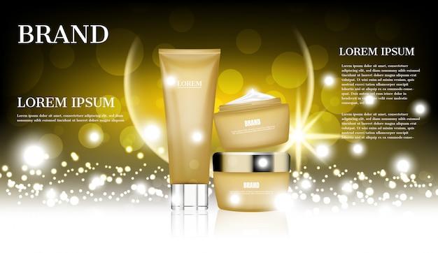Annunci di cosmetici, skincare d'oro impostato su sfondo glitter Vettore Premium