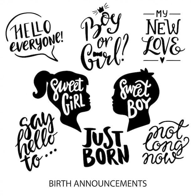 Annunci di nascita lettering collezione Vettore Premium