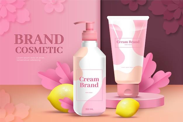 Annuncio cosmetico di marca di gel per lozione e crema rosa Vettore gratuito
