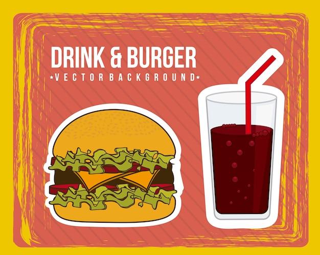 Annuncio dell'hamburger sopra il vettore della priorità bassa del grunge Vettore Premium